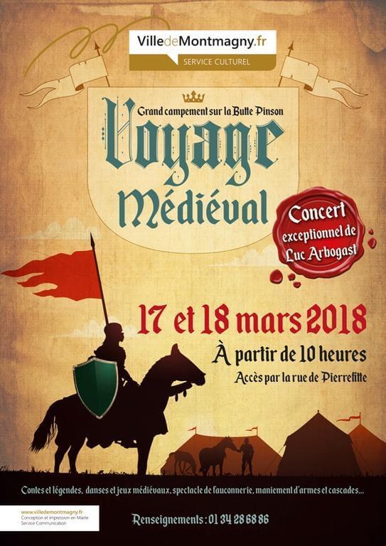 Affiche Voyage Medieval 2018 full visuel • Fêtes médiévales Mars - Avril 2018 • Fred Ericksen • Magicien Lyon • Conférencier mentaliste